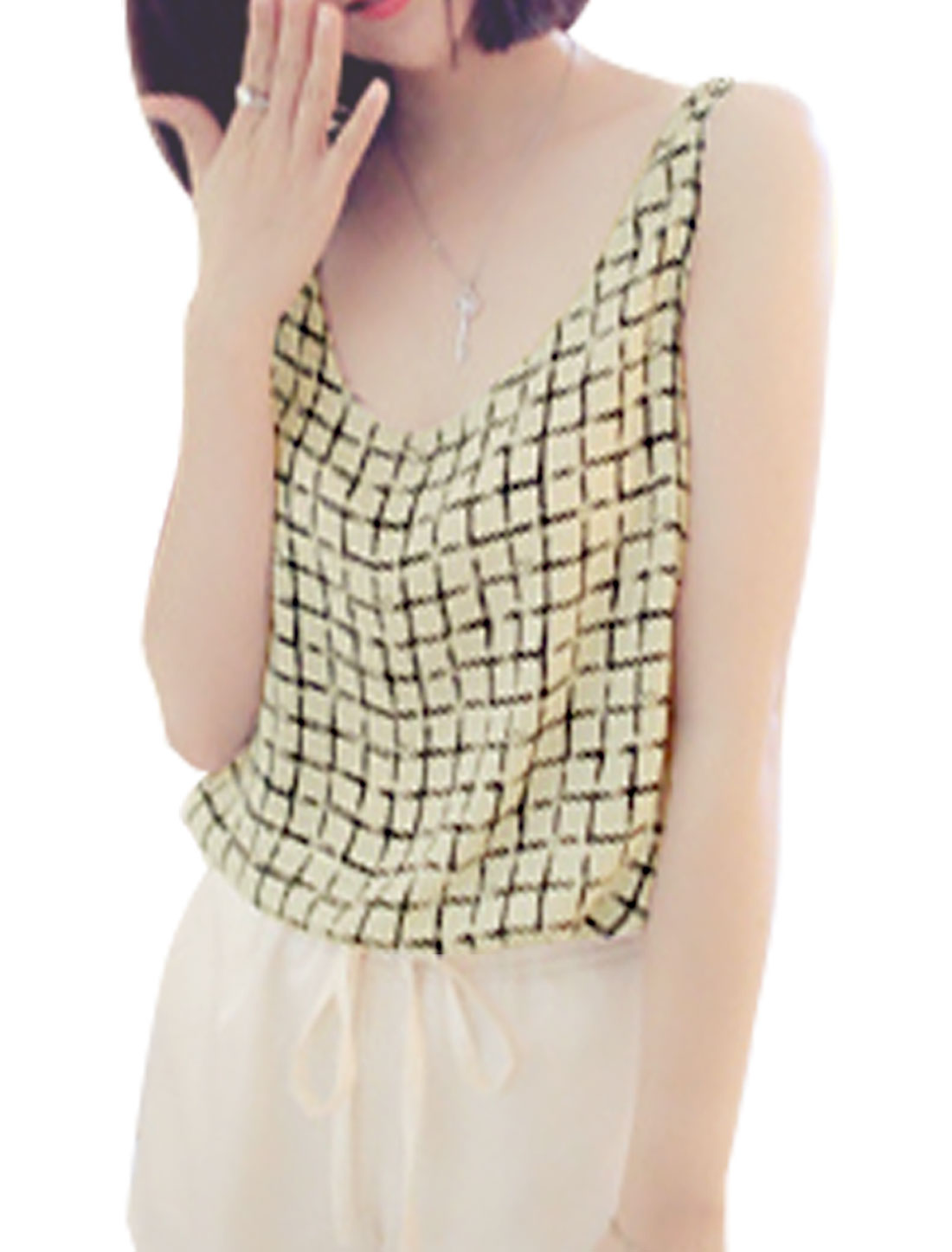 Lady Pullover U Neck Sleeveless Plaids Chiffon Tank Top Beige XS
