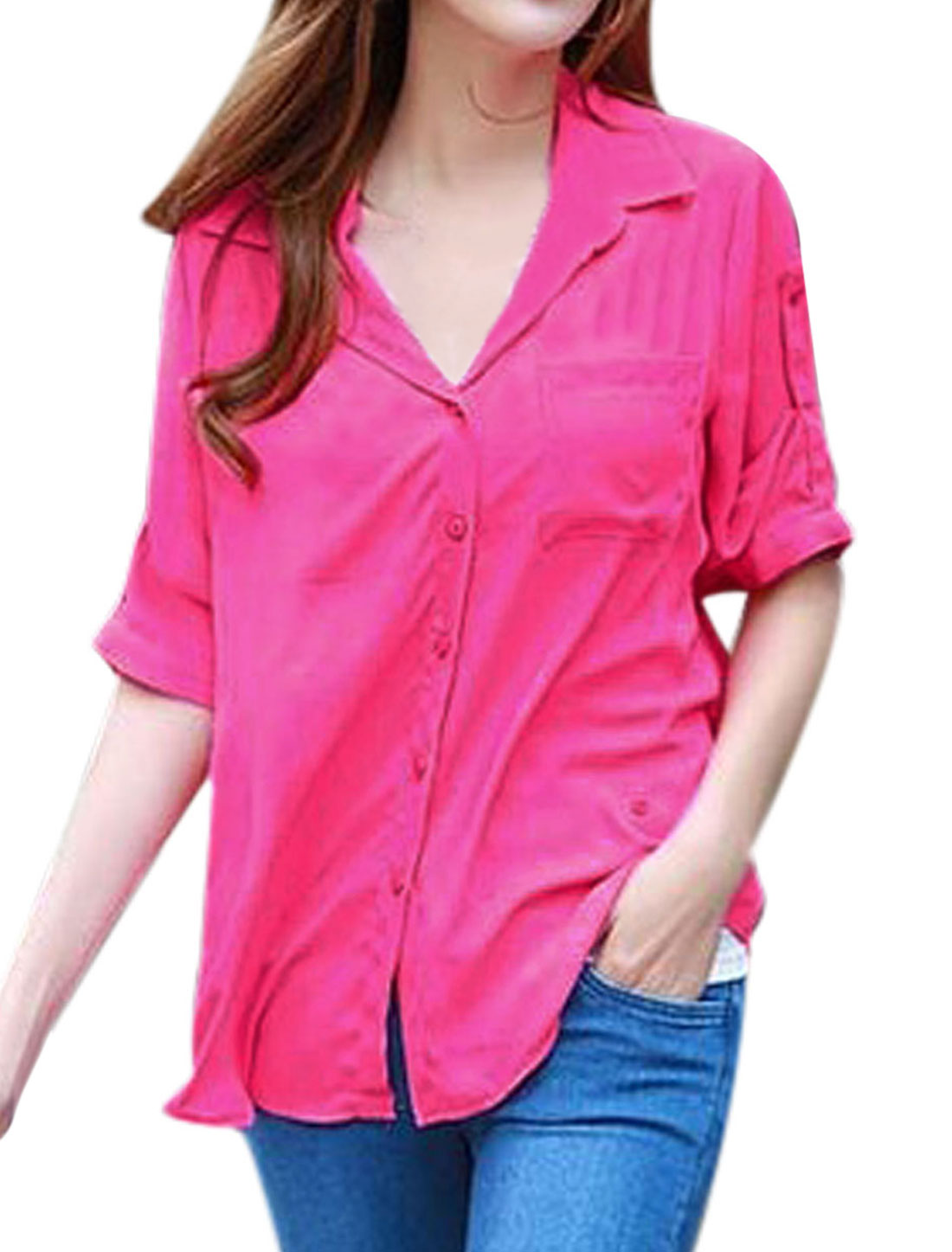 Women Point Collar One Bust Pocket Button Down Chiffon Shirt Fuchsia XS