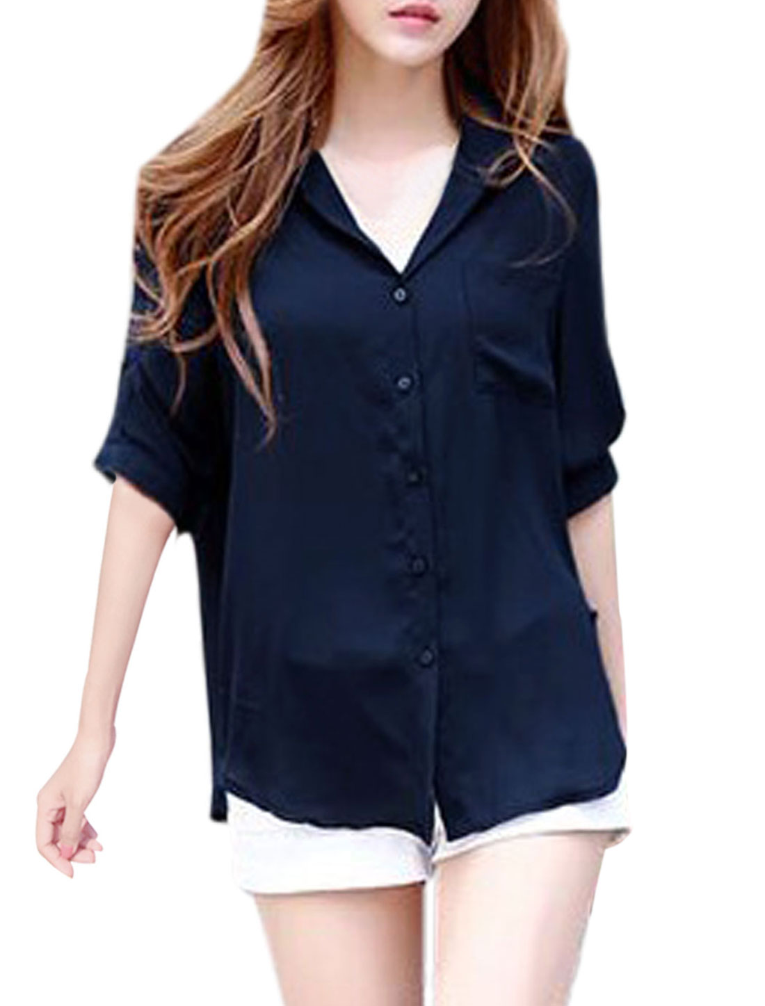 Women Point Collar One Bust Pocket Round Hem Chiffon Shirt Navy Blue XS