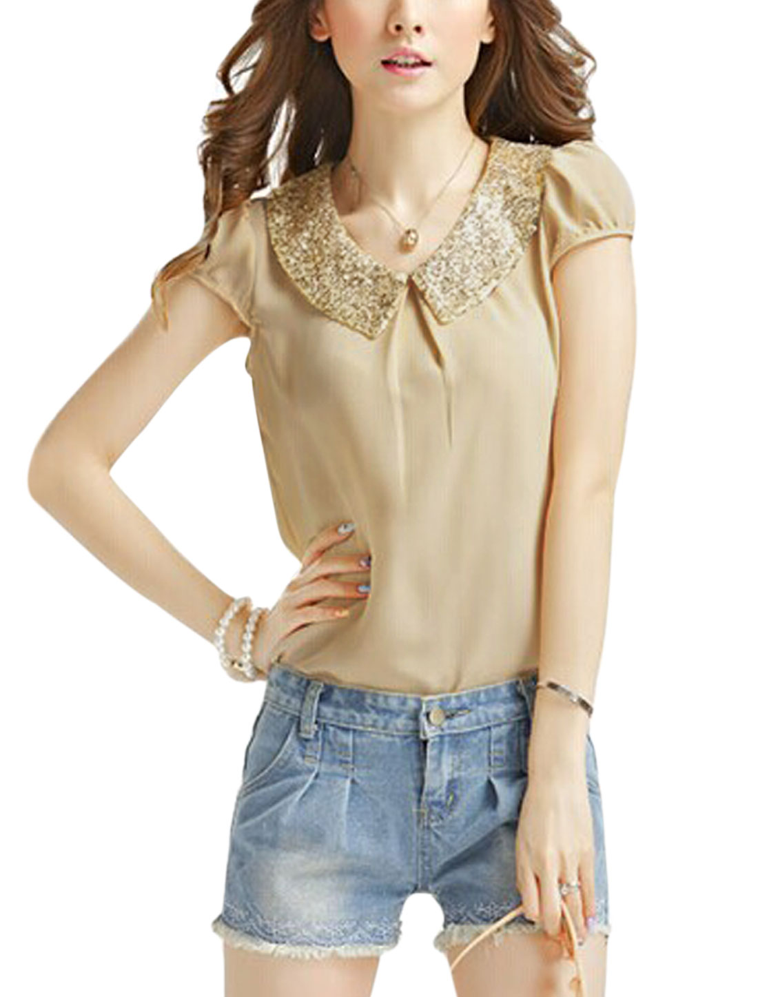 Lady Paillette Embellished Peter Pan Collar Cap Sleeve Chiffon Blouse Apricot XS