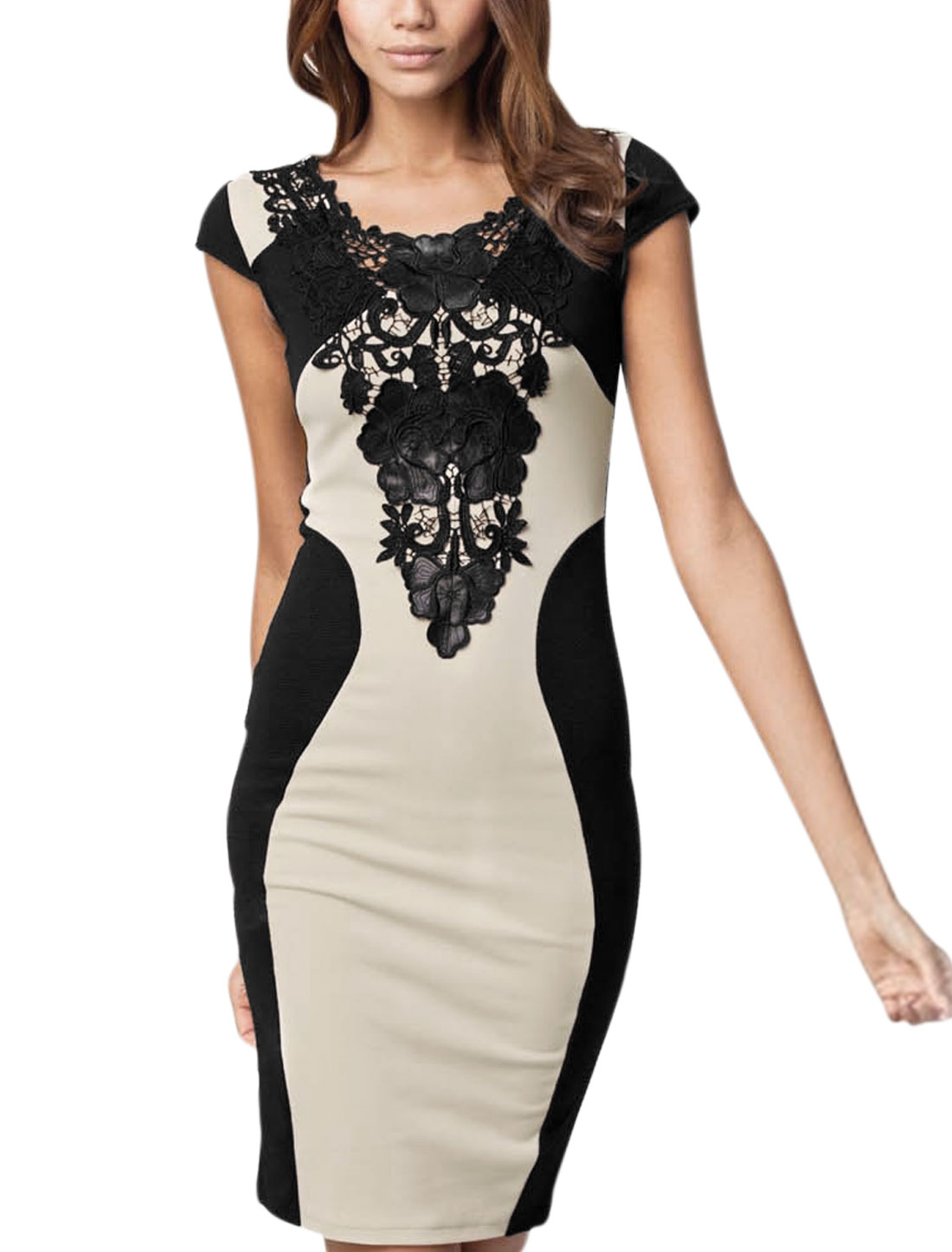 Woman Crochet Embellished Cap Sleeve Above Knee Pencil Dress Apricot Black S