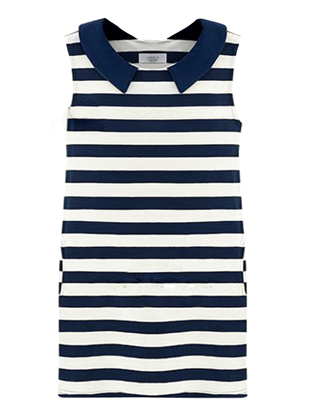 Ladies Slim Fit Peter Pan Collar Sleeveless Stripes Tank Dress Navy Blue White XS