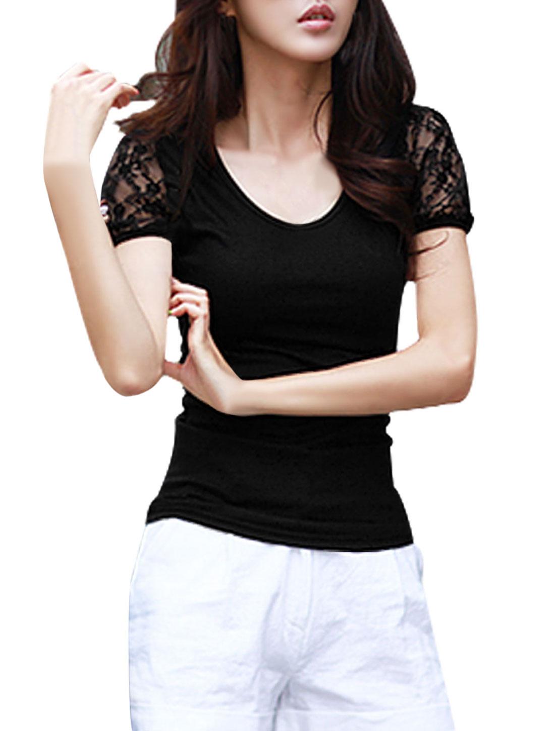 Lady Round Neck Short Sleeve Lace Panel T-Shirt Black S
