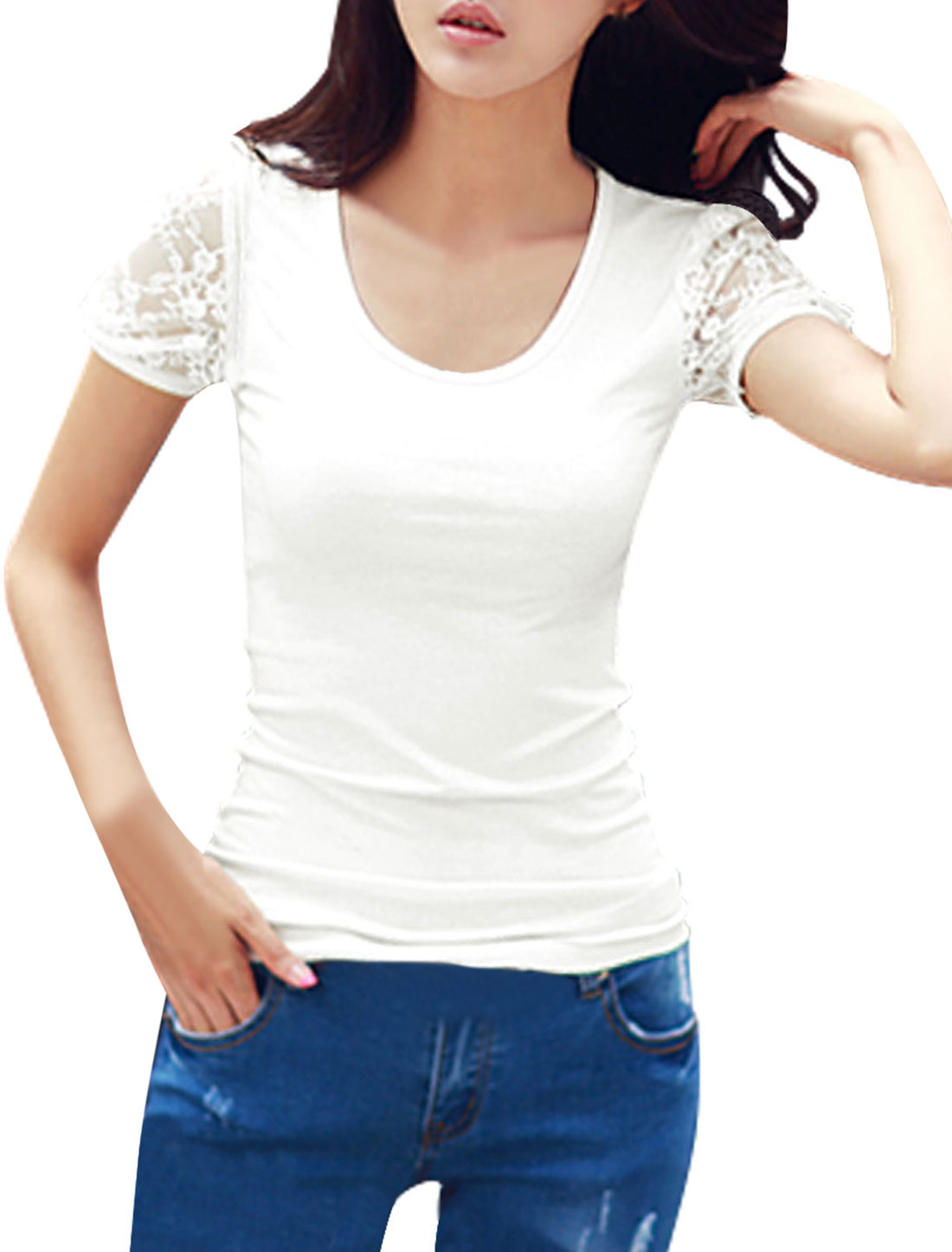 Lady Casual Round Neck Short Sleeve Lace Panel T-Shirt White S