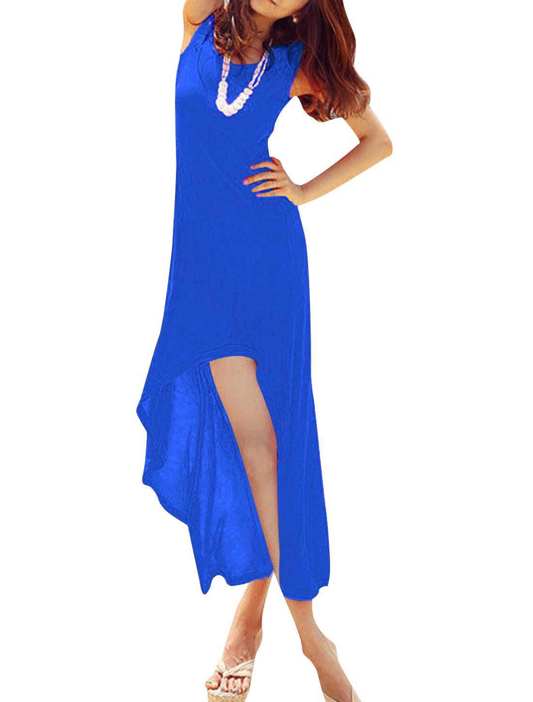 Women Elegant V Neck Sleeveless High Low Hem Dress Royal Blue XS