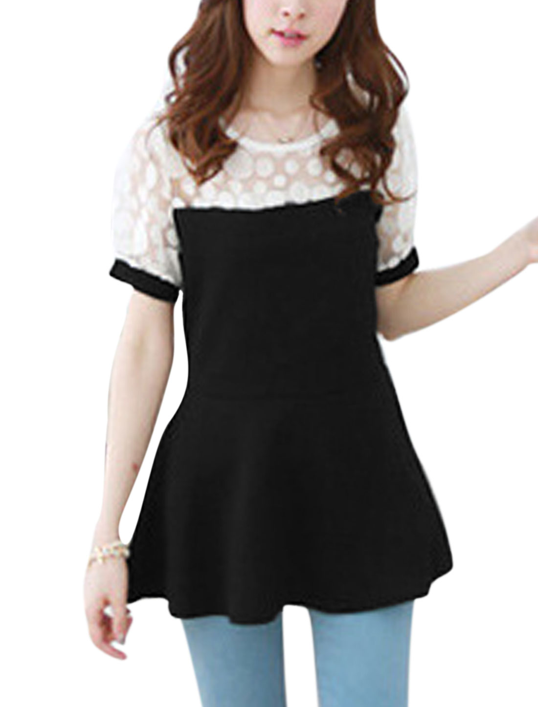 Lady Short Sleeve Dots Prints Mesh Panel Peplum Top Black XS