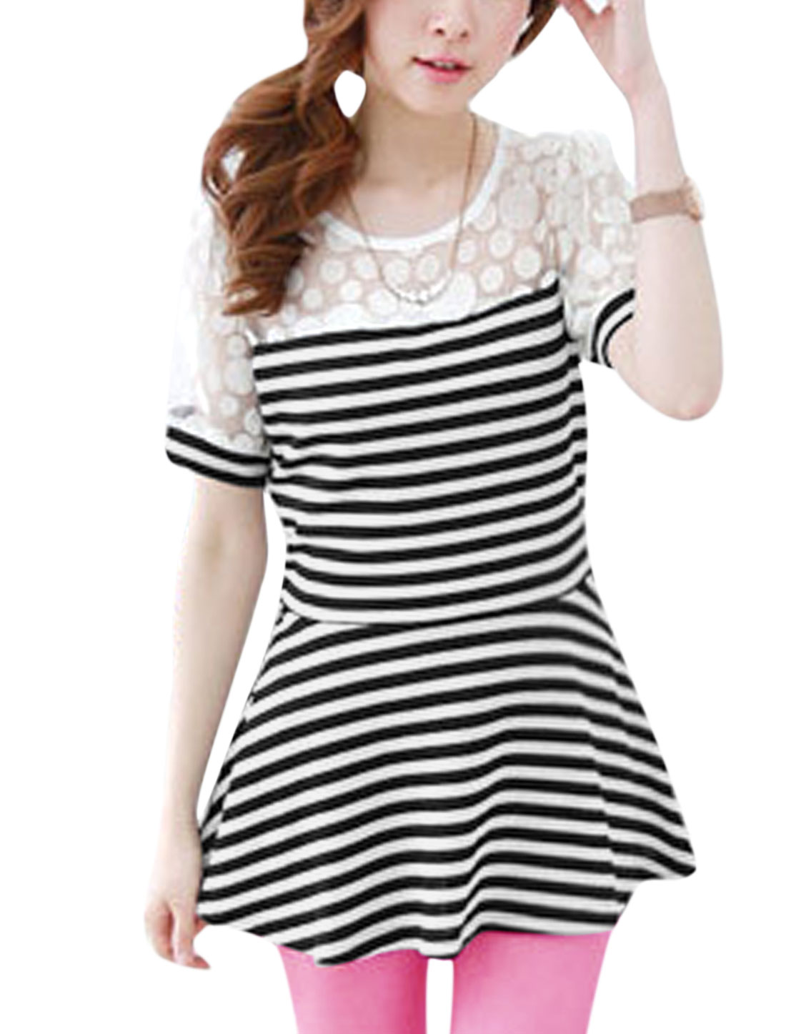 Lady Stripes Dots Prints Mesh Panel Peplum Top Black White XS