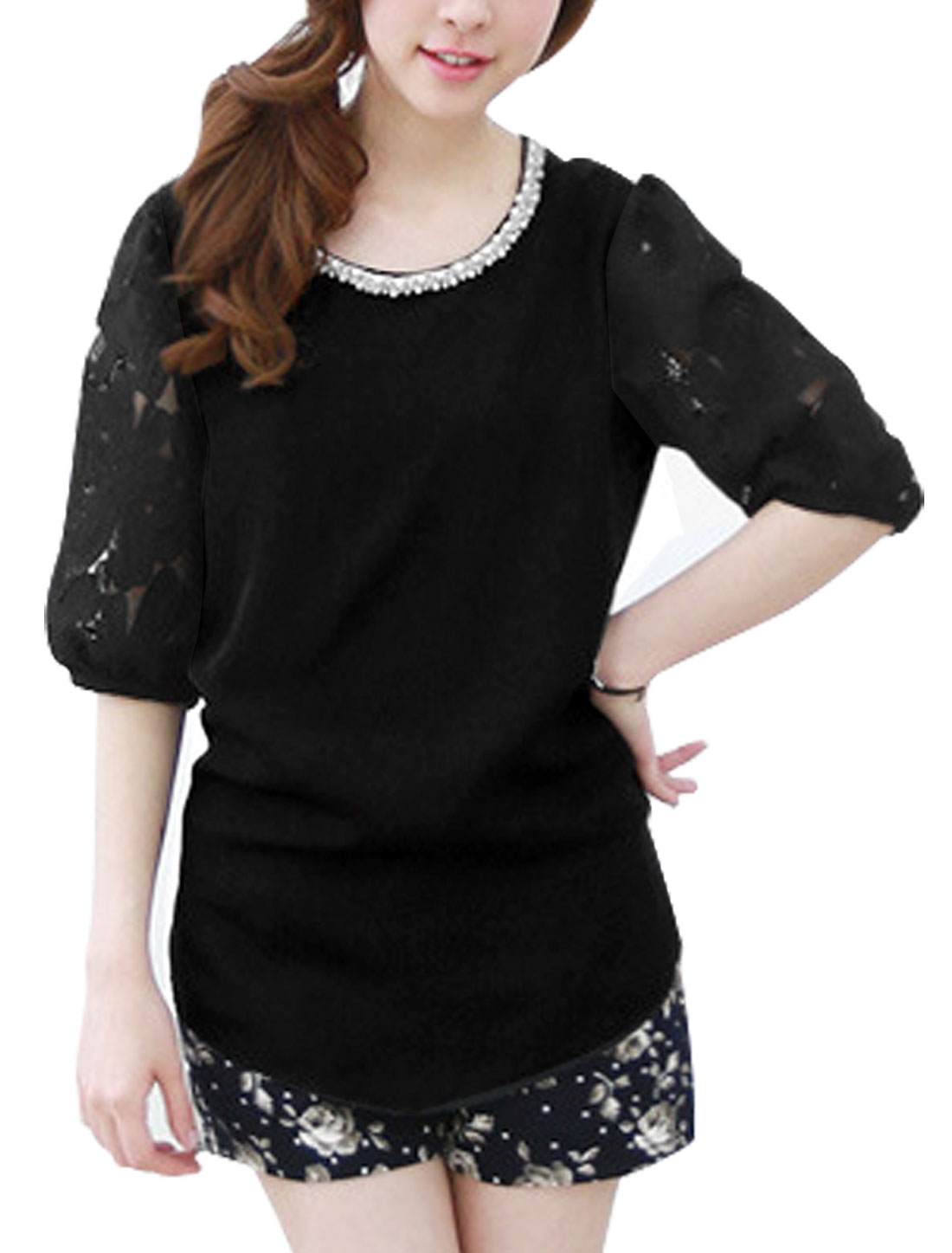 Lady Half Sleeve Crochet Panel Plastic Pearls Decor Blouse Black XS
