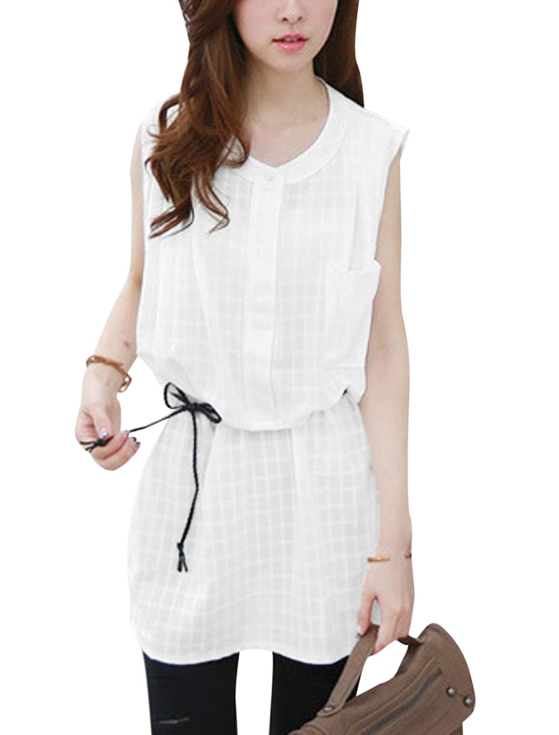 Ladies Plaids Design Button Closed Sweet Linen Top Shirt White S