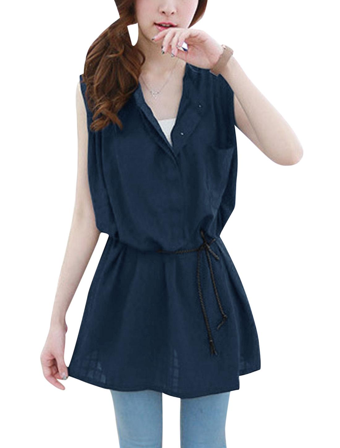 Ladies Bust Pocket Self Tie String Sweet Linen Top Shirt Navy Blue S