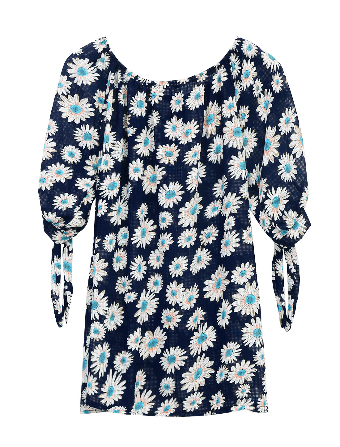 Ladies Summer Half Raglan Sleeve All Over Flower Pattern Chiffon Top Navy Blue S