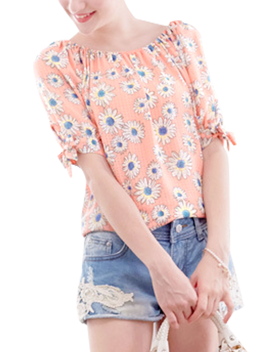 Ladies Summer Plaids Design All Over Flower Pattern Chiffon Top Salmon S