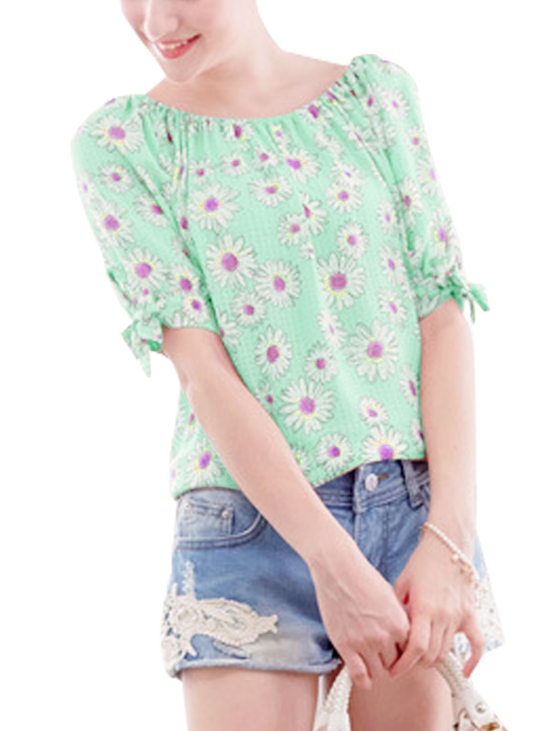 Ladies Summer Half Raglan Sleeve Bow-tie Sleeve Flower Chiffon Top Mint S