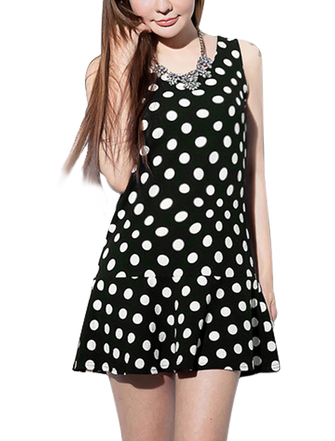 Women Casual Round Neck Sleeveless Dots Prints Peplum Top Black S