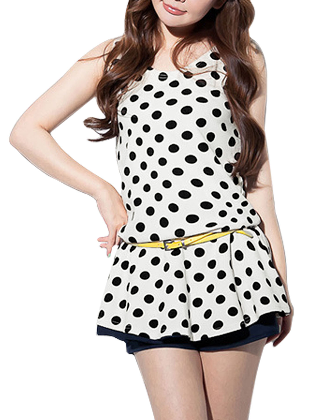 Women Simple Round Neck Sleeveless Dots Prints Peplum Top White S
