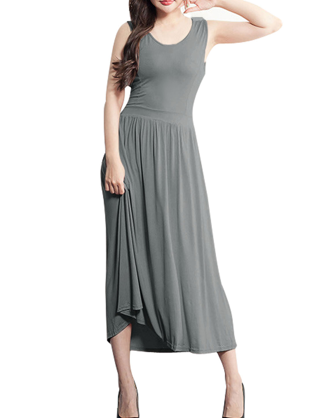 Lady's Sleeveless Cut Out Back Mid-Calf Tank Dress Dark Gray XS