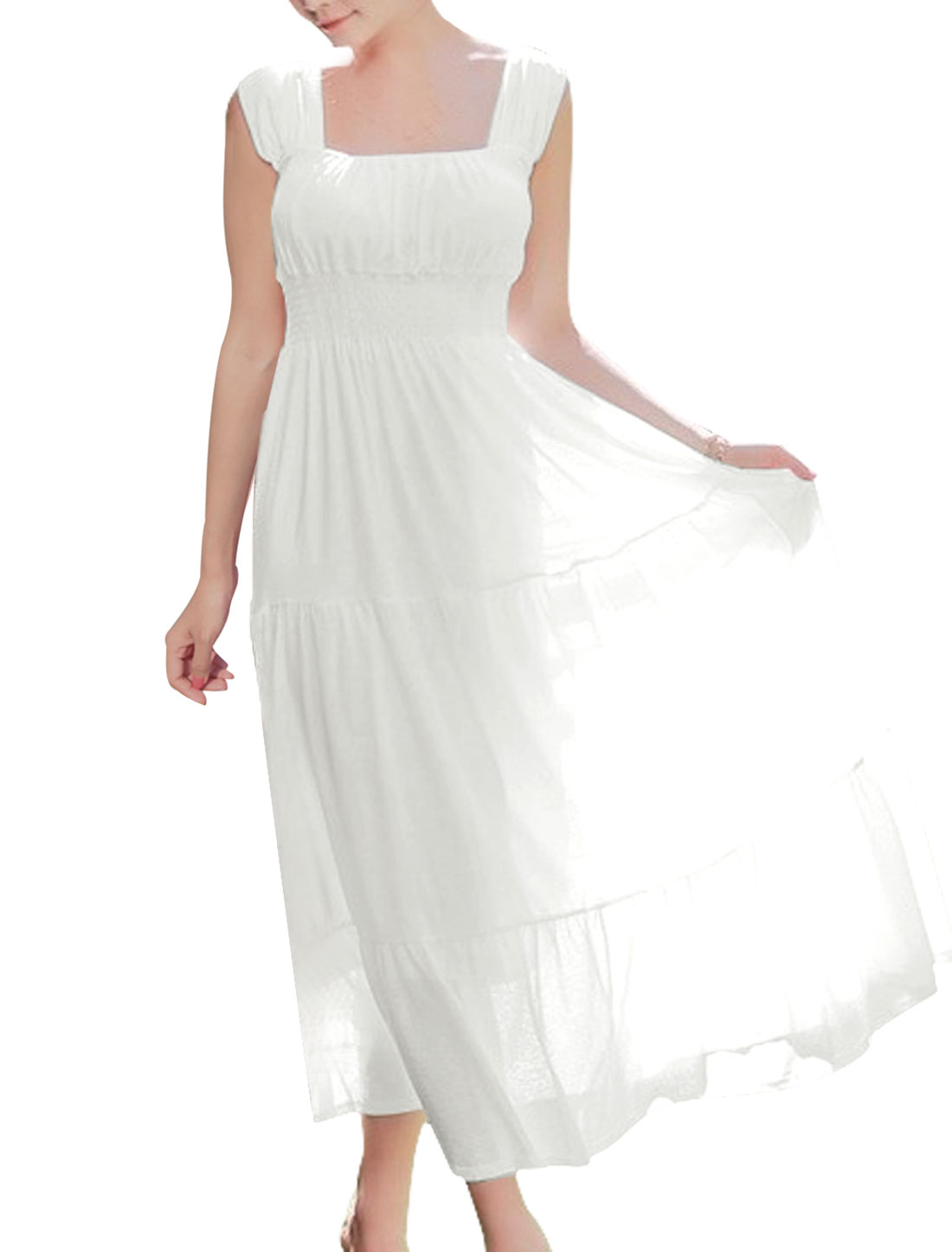 Lady Elegant Square Neck Smocked Waist Lining Peasant Dress White L