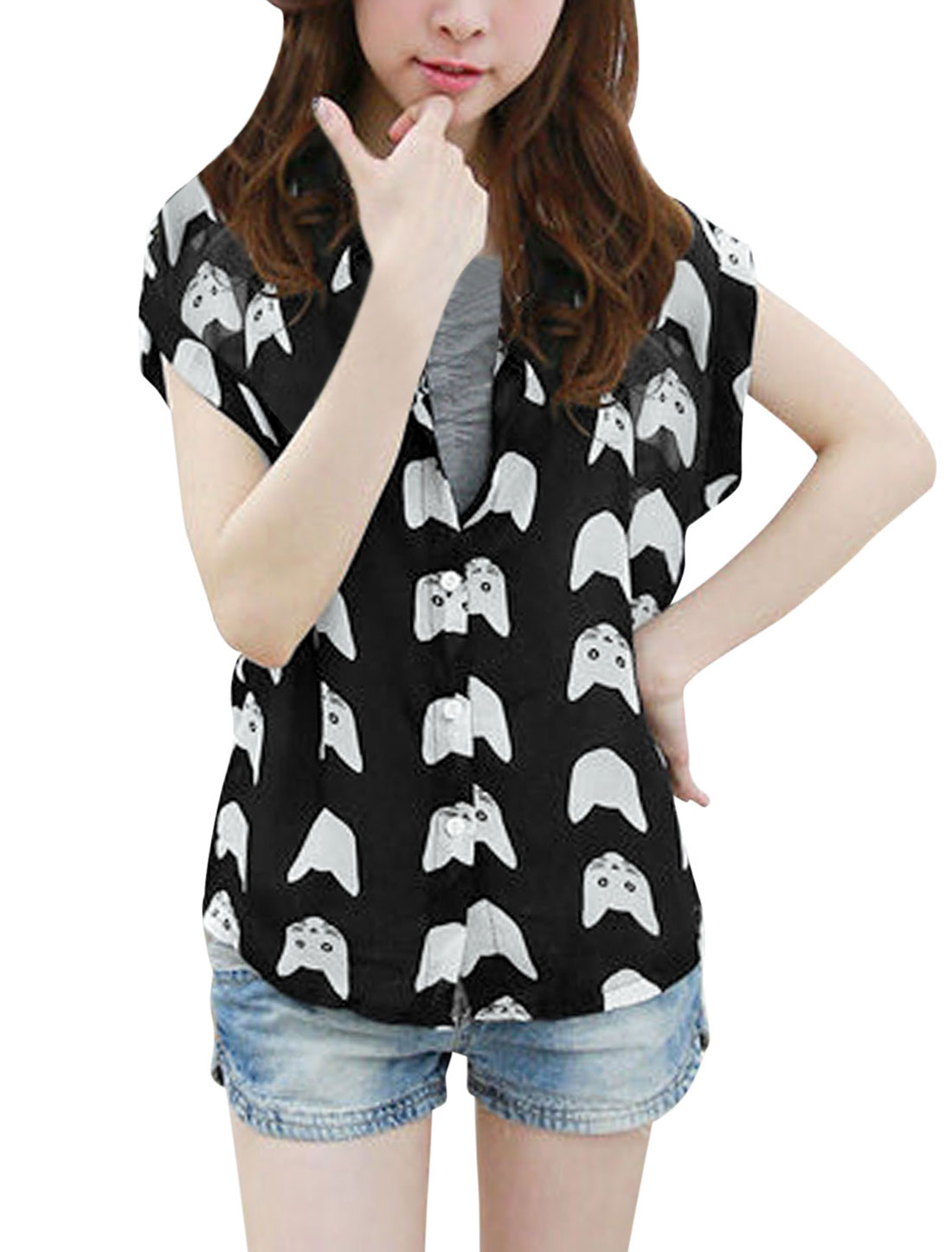 Women Short Batwing Sleeve Cartoon Cat Head Pattern Chiffon Shirt Black S