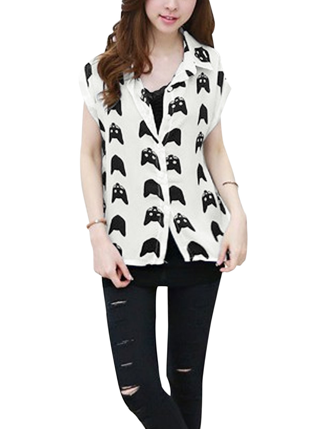 Women Point Collar Cartoon Cat Head Pattern Chiffon Shirt White S