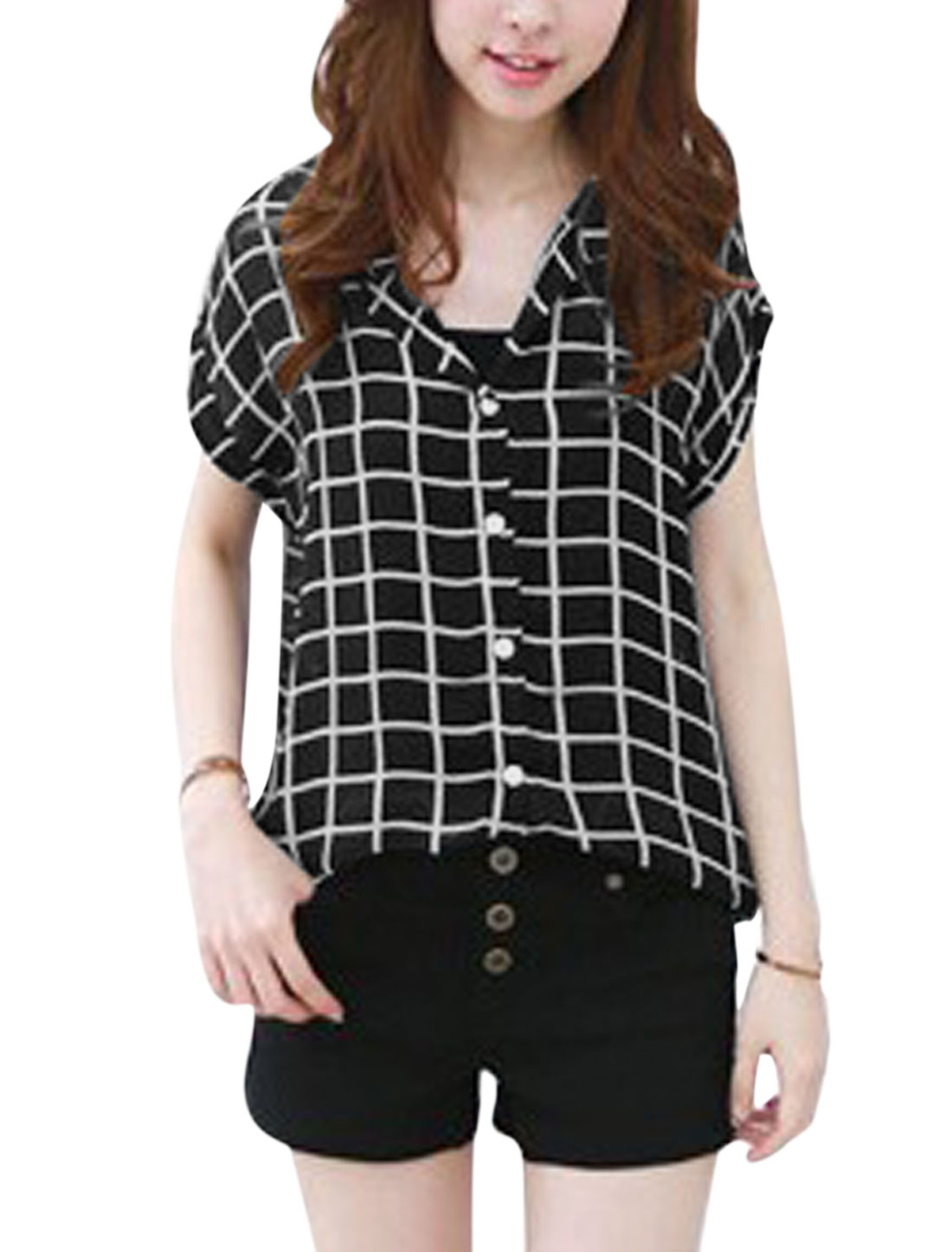 Lady Plaids Single Breasted Roll Up Cuffs Loose Chiffon Shirt Black S