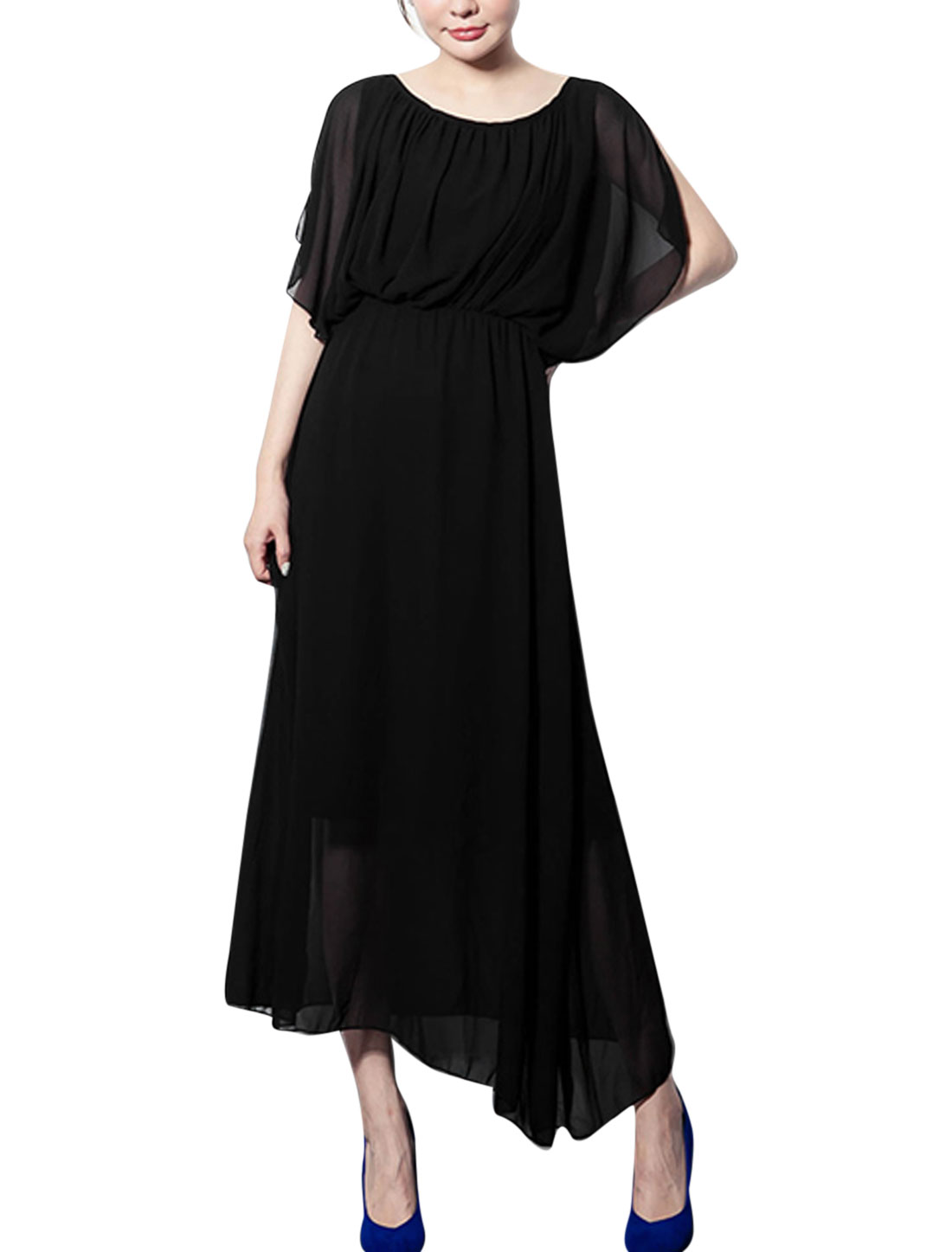 Ladies Elastic Waist Gathered Detail Maxi Chiffon Dress Black S