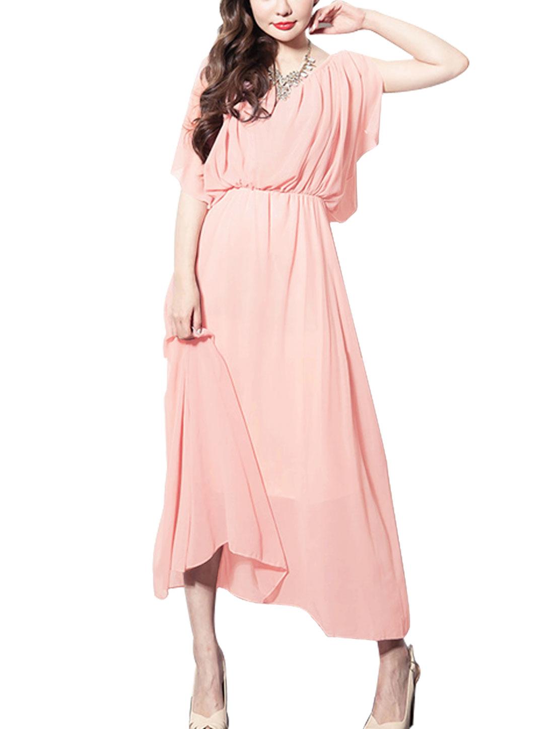 Ladies Elastic Waist Sleeveless Gathered Detail Maxi Chiffon Dress Pink S