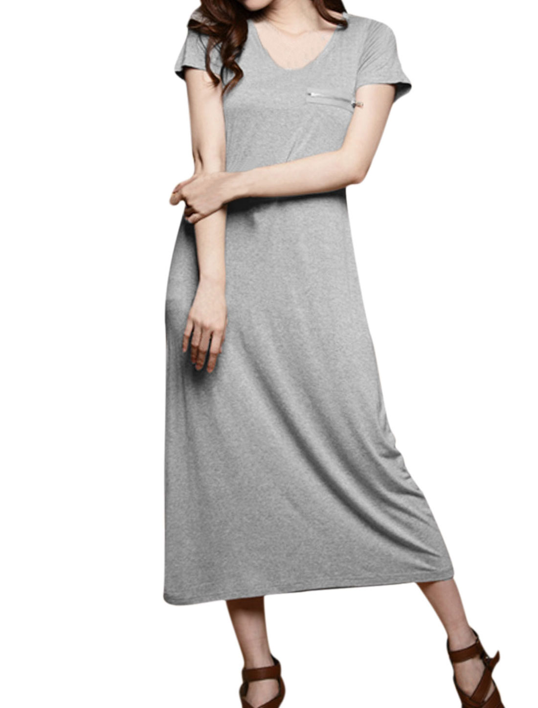 Women's Short Sleeve Scoop Neck Mock Chest Pocket Mid Calf Dress Light Gray XS