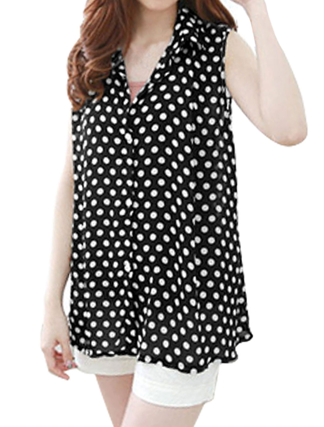 Lady Sleeveless Dots Print Button Down Casual Chiffon Blouse Black White S
