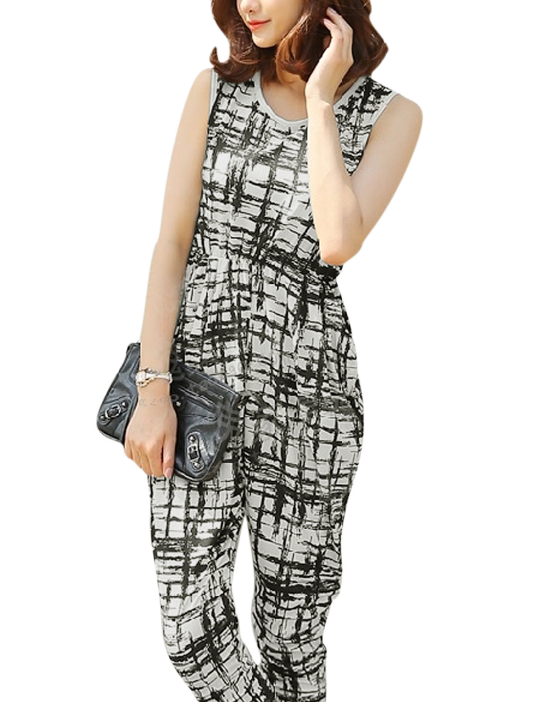 Women Round Neck Sleeveless Elastic Waist Novelty Prints Jumpsuit Black White S