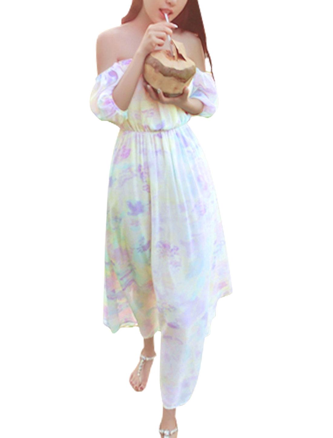 Lady Off Shoulder Short Sleeve Elastic Waist Chiffon Dress Multicolor M