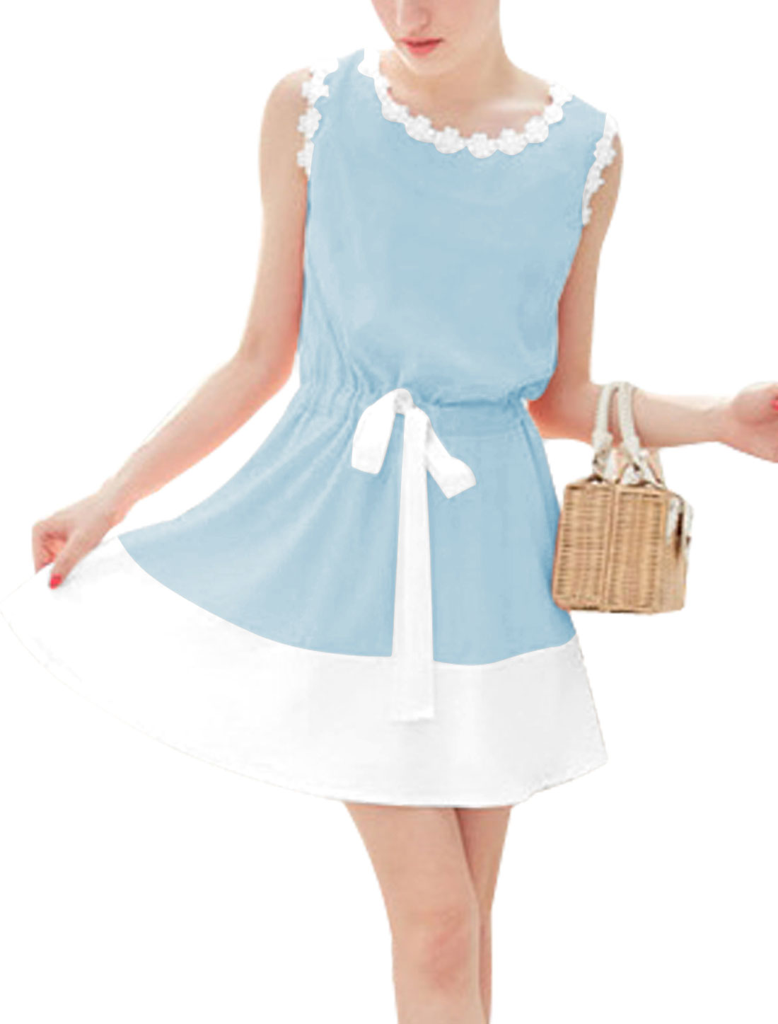 Lady's Color Block Crochet Trimming Sleeveless Sky Blue Short Dress XS