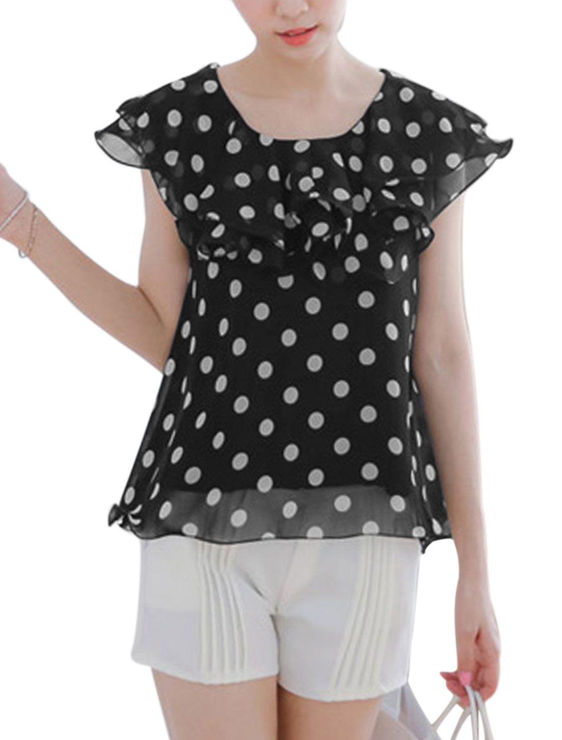 Lady's Flounce Lace-up Closure Dots Print Chiffon Blouse Black XS