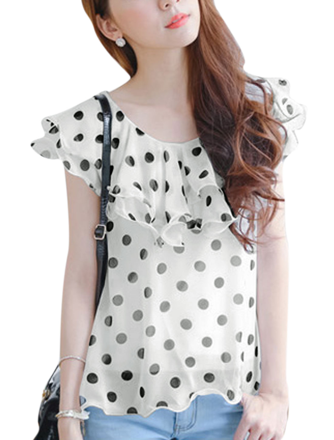 Lady's Dots Print Summer Fit Lace Up Closure Chiffon Blouse White XS