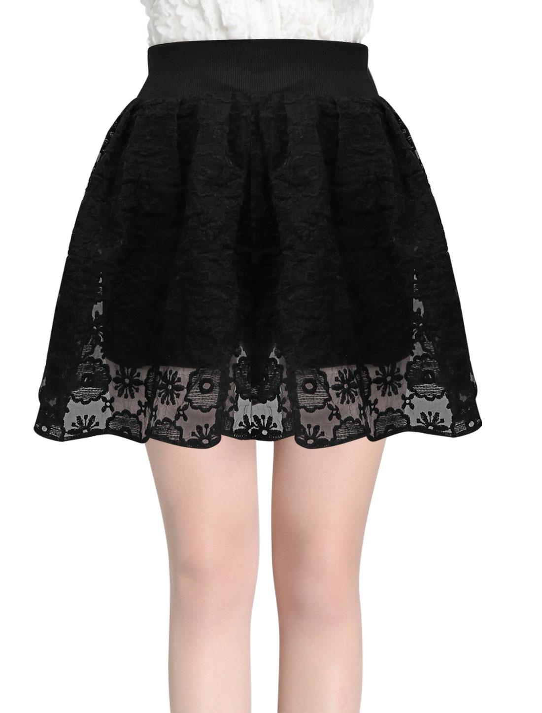 Ladies Floral Embroidery Ribbed Waist Sweet Organza Skort Black XS