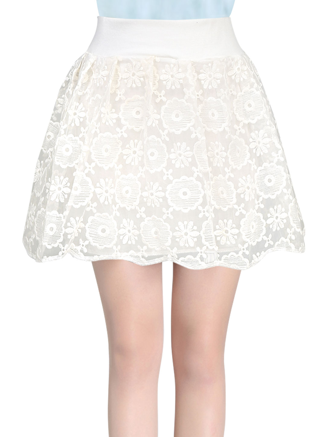 Ladies Floral Embroidery Elastic Waist Sweet Organza Skort White XS