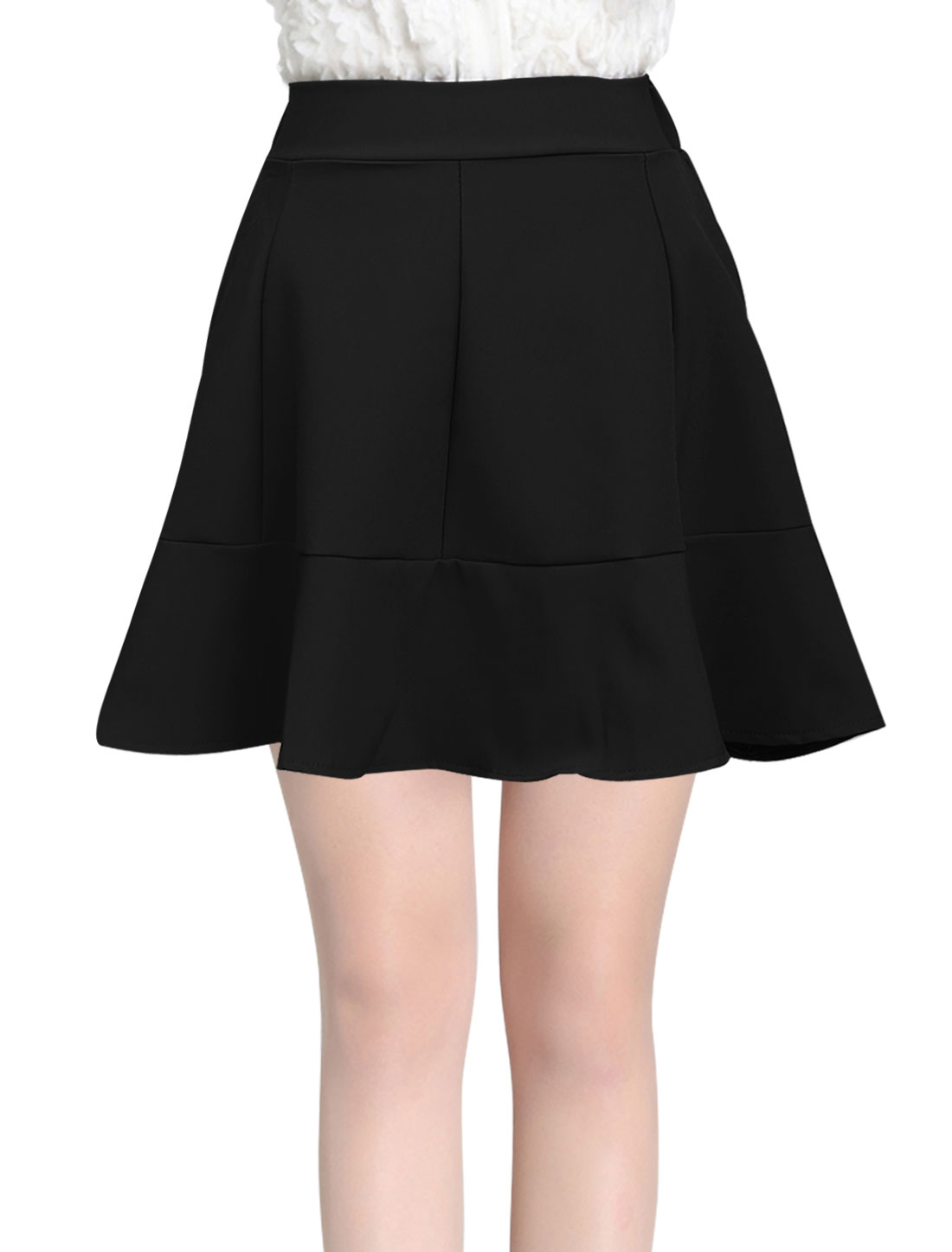 Ladies Elastic Waist Flouncing Hem Sweet Mini Skirt Black S