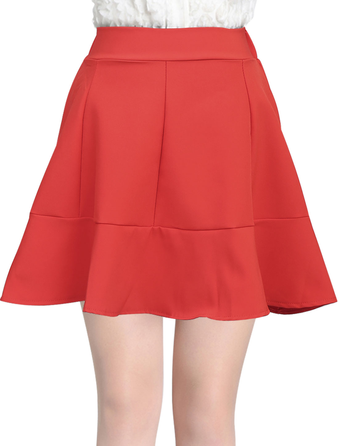 Women Summer Stretchy Waist Flouncing Hem Sweet Mini Skirt Red S