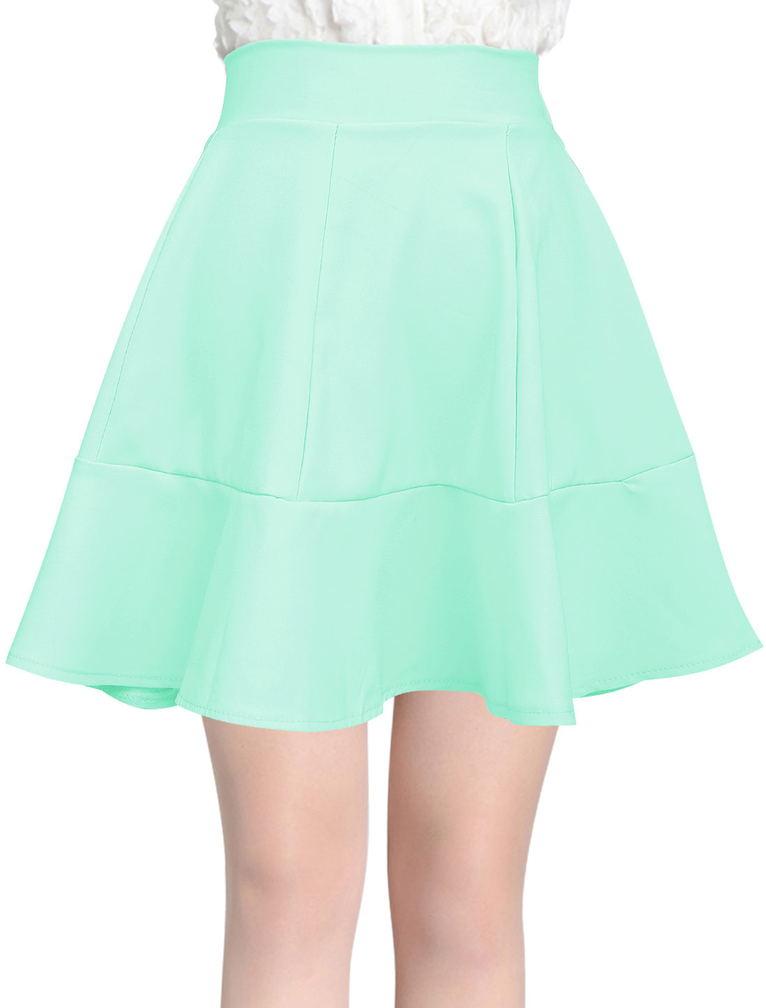 Women Summer Stretch Waist Flouncing Hem Mid Rise Mini Skirt Mint S