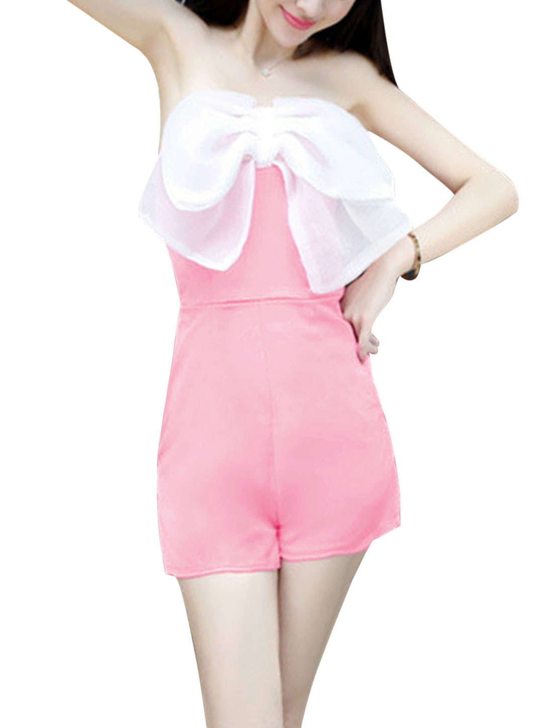 Ladies Sexy Strapless Design Bowknot Decor Front Romper Pink XS
