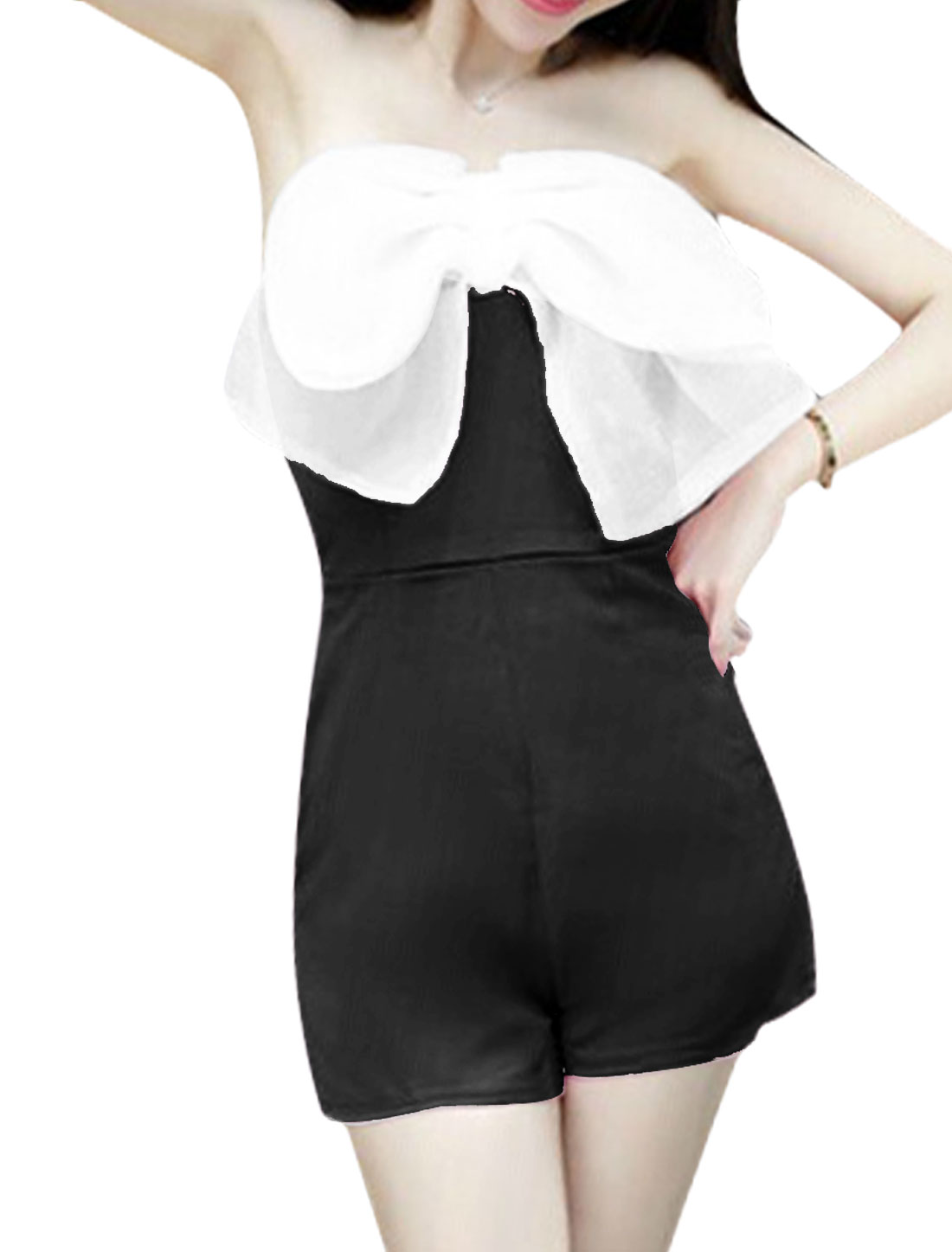 Ladies Sexy Conceal Zipper Back Bowknot Decor Front Romper Black XS