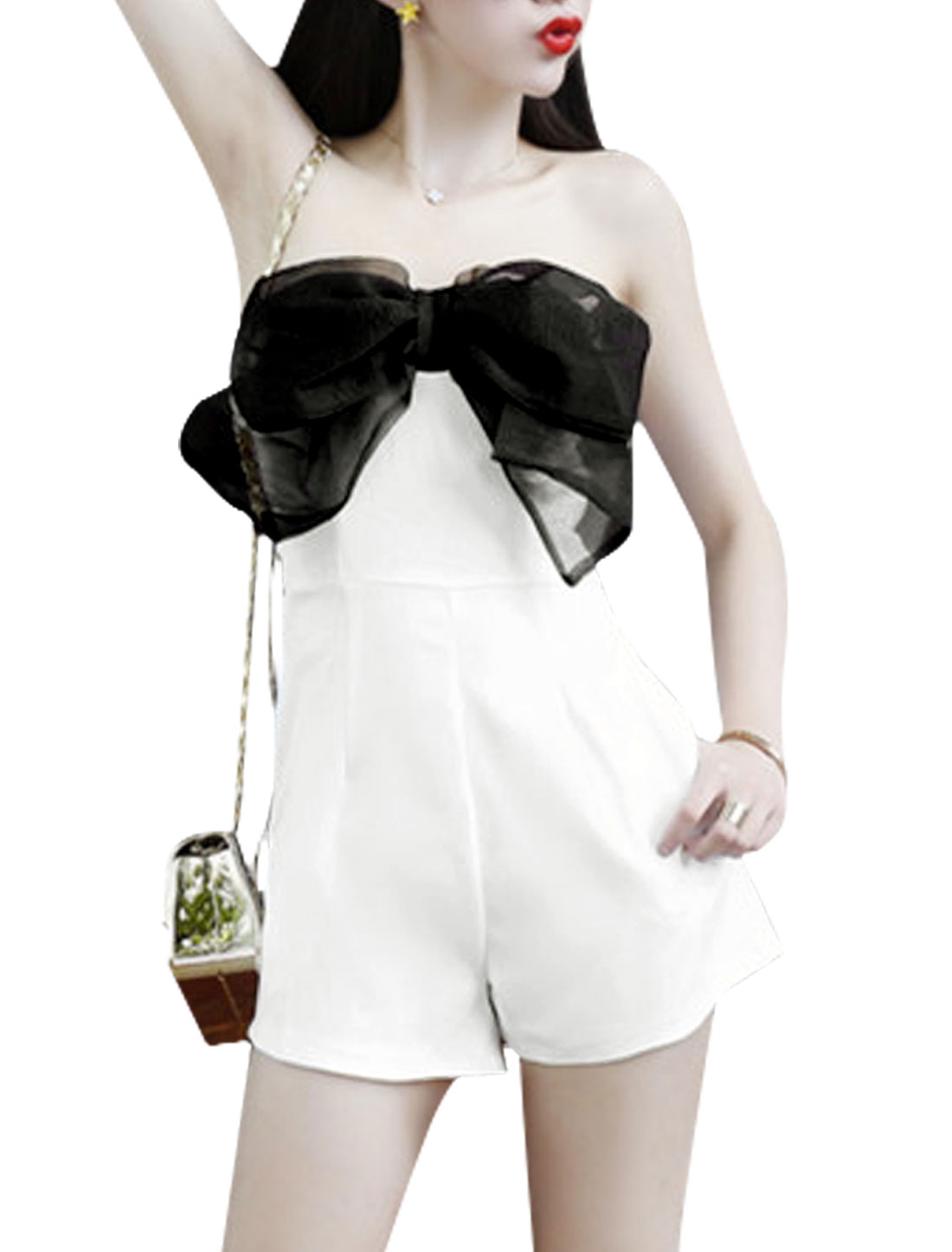 Ladies Trendy Elastic Bust Bowknot Decor Front Romper White XS