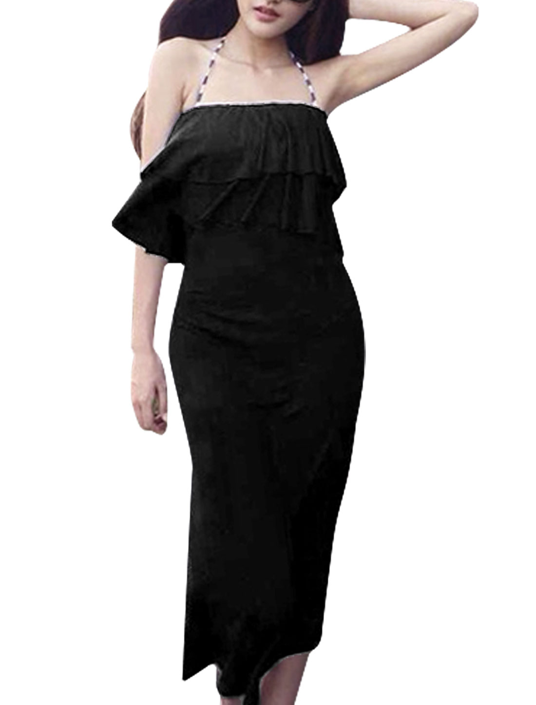 Lady Strapless Tiered Flouncing Top Split Side Dress Black XS