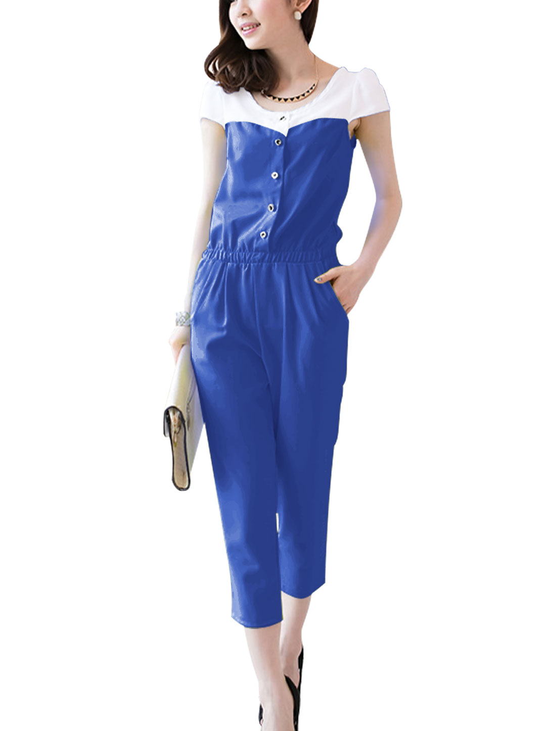 Lady Cap Sleeve Elastic Waist Button Closure Patchwork Jumpsuit Blue XS