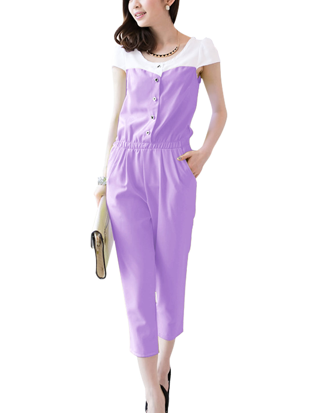 Woman's Front Button Closure Slant Front Pockets Jumpsuit Lavender XS