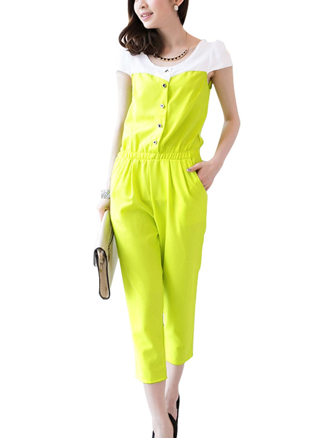 Lady's Short Cap Sleeve Round Neck Elastic Waist Casual Jumpsuit Lemon XS