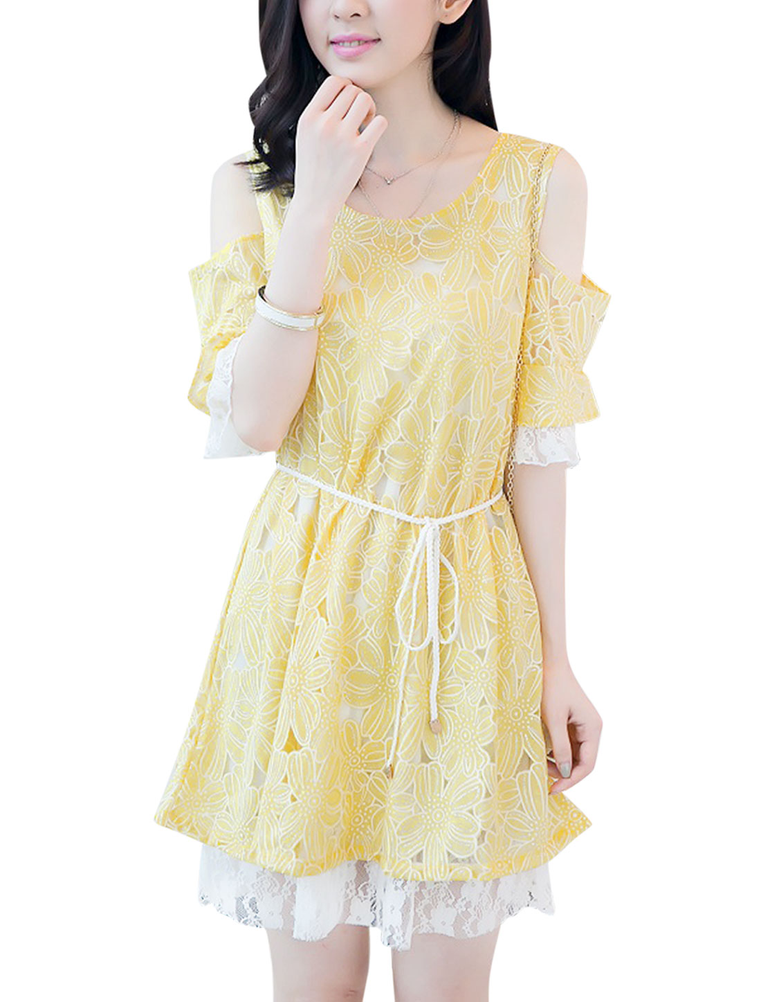 Lady Short Sleeve Cut Out Shoulder Flower Pattern Dress w Waist String Yellow M
