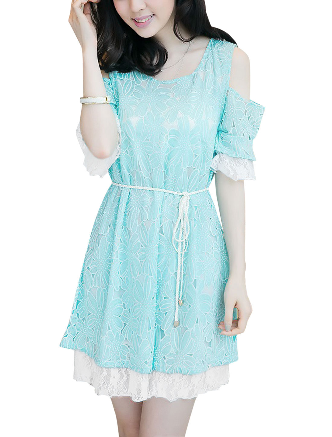 Lady Short Sleeve Round Neck Flower Pattern Dress w Waist String Sky Blue M