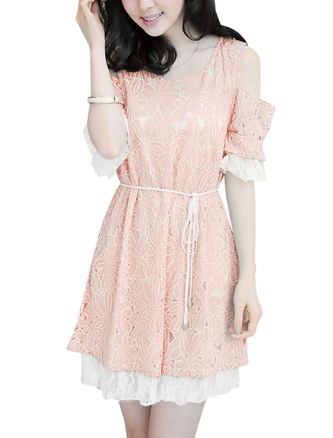 Lady Casual Cut Out Shoulder Flower Pattern Dress w Waist String Pink M