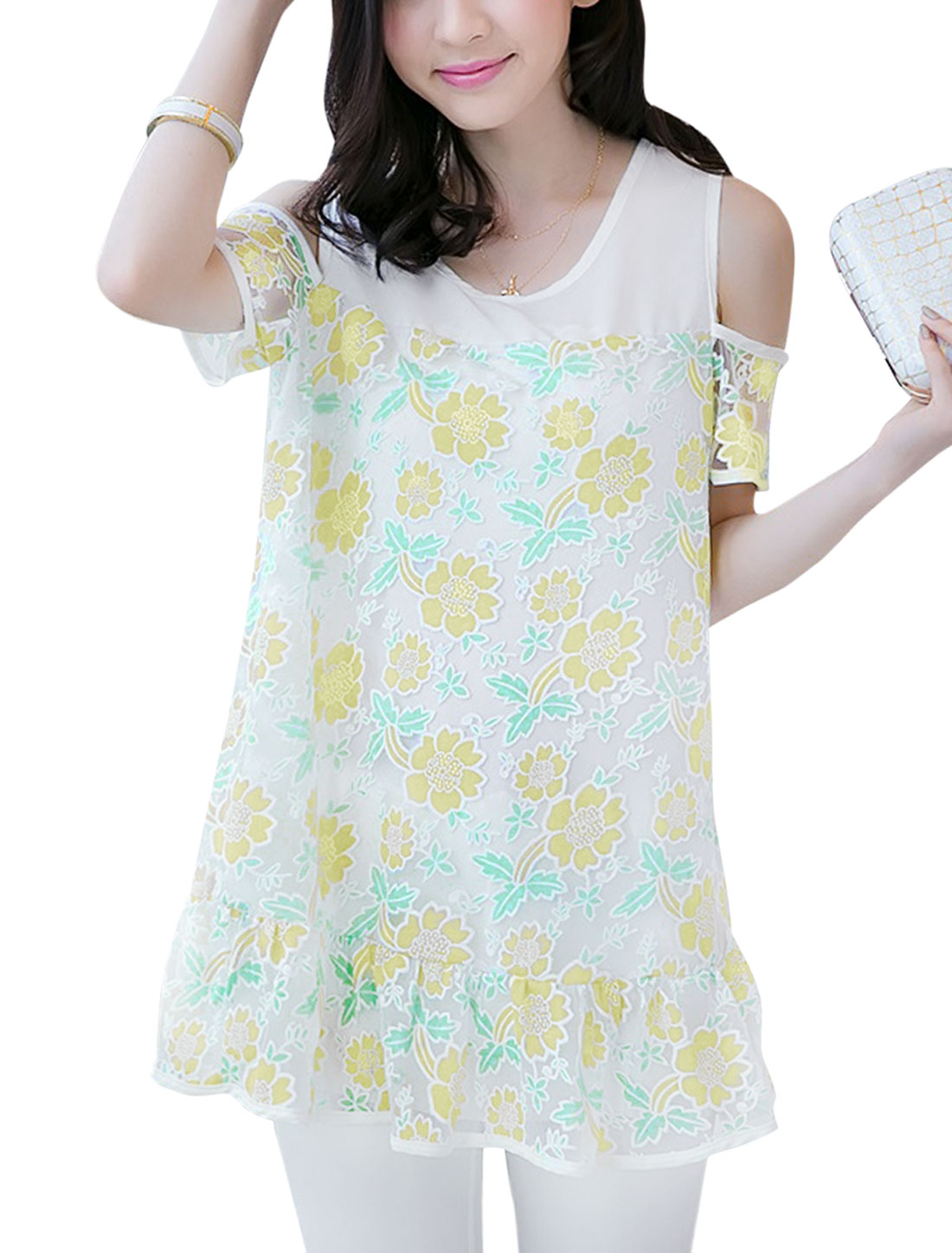 Lady Floral Prints Cut Out Shoulder Mesh Splicing Tunic Top Light Yellow M
