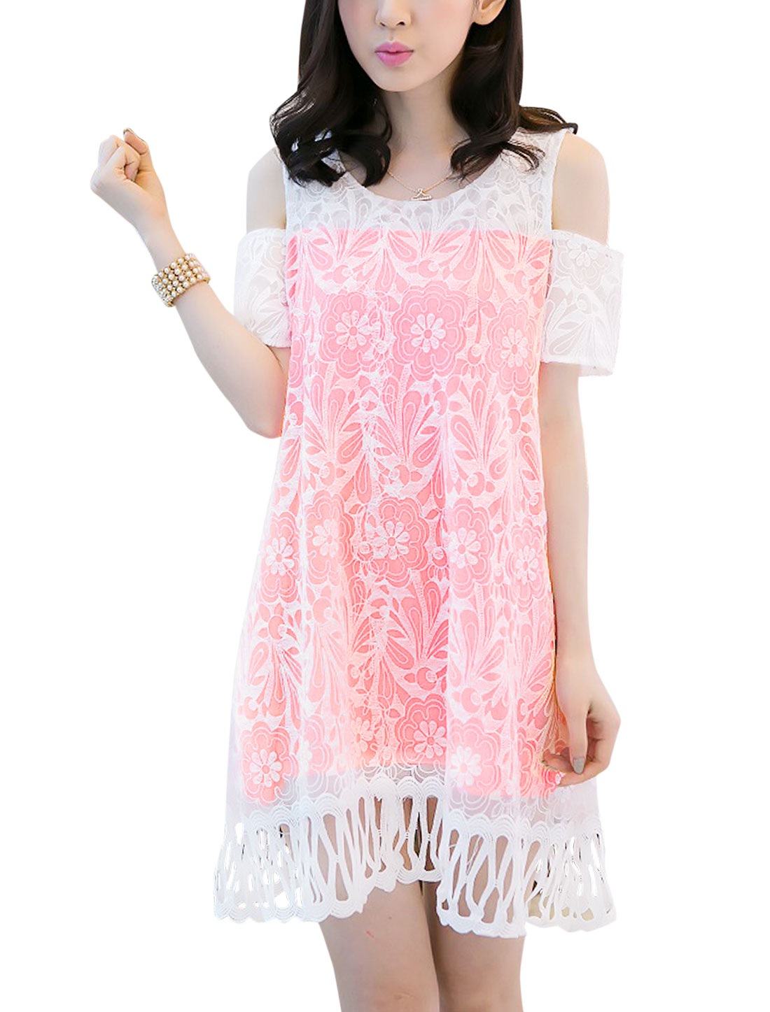 Lady Cut Out Shoulder Lace Overlay Crochet Hem Dress Fluorescent Pink M